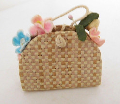 Vintage Barbie Early 1960's Straw Tote Full of Flowers - $8.99