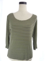 Riki L Green and Brown Striped Slinky Blouse Top Size Large - $15.00