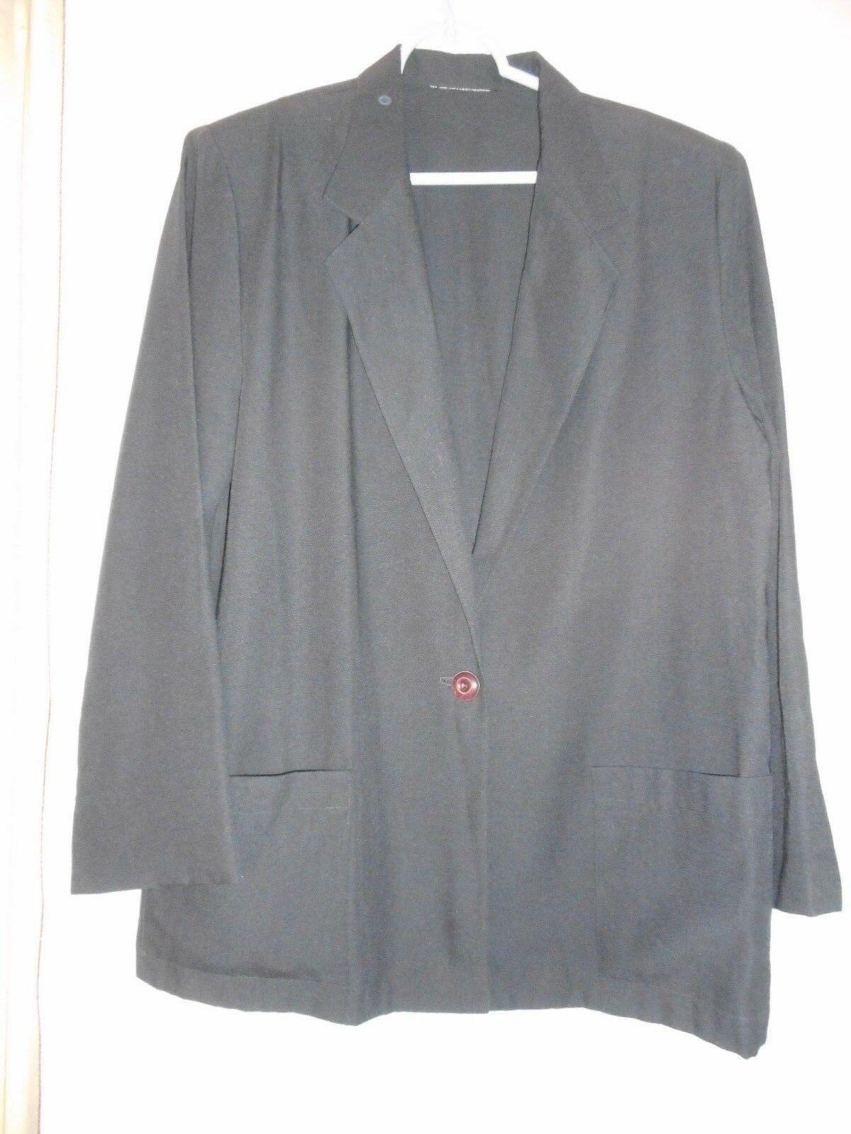Size 14 Womens Black unLined Blazer Jacket Patch pockets