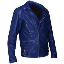 Jared Leto 30 Seconds to Mars Blue Motorcycle Synthetic Leather Jacket image 2