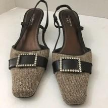 Liz Claiborne Women's Slingback Tan Brown Tweed Rhinestone Buckle Low Heels  8.5 - $21.66