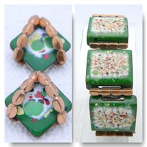 VTG RARE MATISSE RENOIR Copper Green Colorful Enamel Copper Bracelet Ear... - $99.00