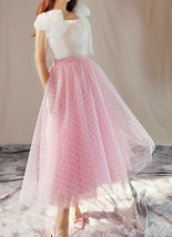 Women Pink Plaid Skirt A Line Long Plaid Skirt Pink Tulle Skirt image 2