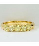 5 Stone Cushion Faint Yellow Diamond Wedding Band 14k Yellow Gold (1.14 ... - $1,484.01
