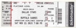 BUFFALO SABRES @ DALLAS 11/21/15 American Airlines Center Ticket! Stars ... - $1.48