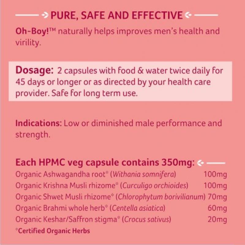 Organic India - Oh-Boy 30 Capsules Bottle - virility, vitality, vigour, libido