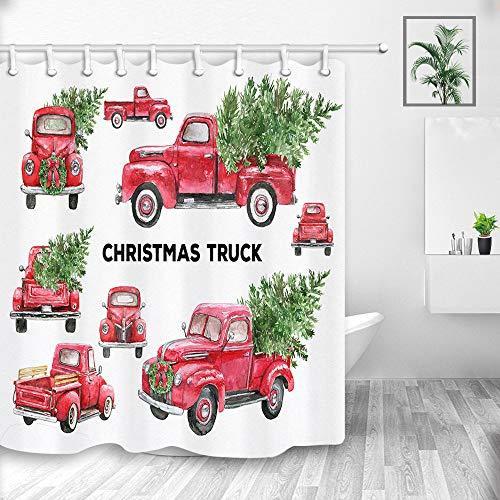 Vintage Christmas Truck Shower Curtains, Watercolor Retro
