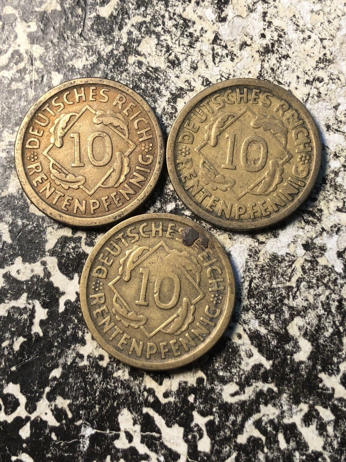 3 Available 1924-E Germany 10 Rentenpfennig 1 Coin Only Circulated