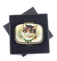 Value Arts Victorian Cat Pill Box, Brass and Glass, 2.25 Inches Long image 2