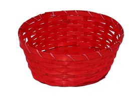 All-Purpose Oval Bamboo Gift Woven Basket 9.75 in x 7.5 in x 4 in, Red - $10.84