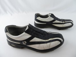 ECCO Mens White Black Leather Soft Spike Cleats Golf Shoes Size EU 40 US 7 - $49.46