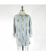 5 / L - Ted Baker Womens Blue Striped Long Sleeve Floral Button Up Shirt... - $30.00