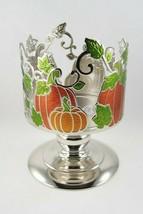 (1) Bath & Body Works Silver Orange Pumpkin Patch Pedestal 3-Wick Candle... - $15.59