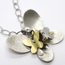 Necklace Silver 925, Chain Oval, Pendant Butterfly Big, Group Butterflies image 3