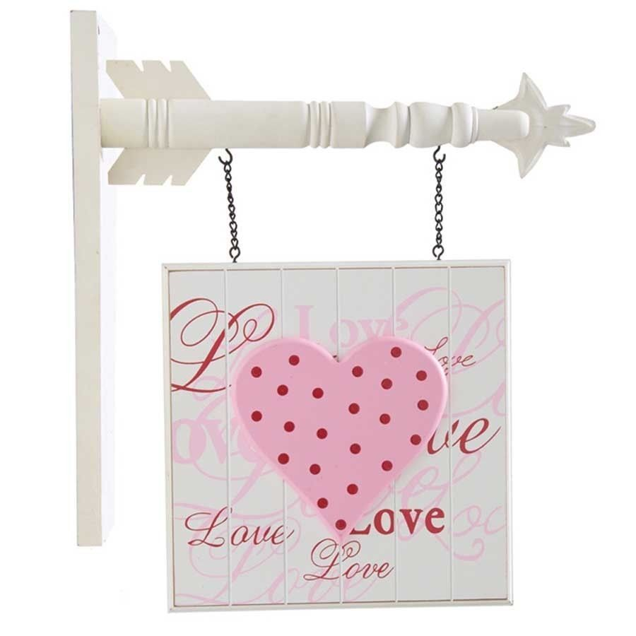 White Bead Board Love Pink Heart Arrow Sign Plaque