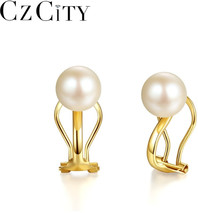 CZCITY New Arrivals Elegant Natural Round Pearl Clip on Earrings for Wom... - $30.41