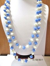 Vintage Necklace Very Long Blue White Carved Pyramid Shape Beads Lucite 1970'S - $27.00