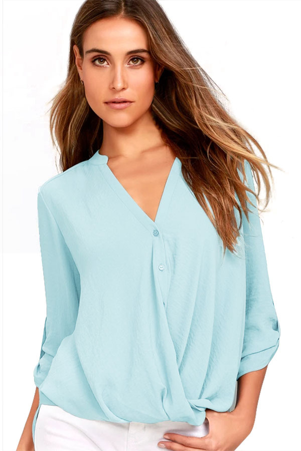 Slate blue v neck knotted button up sleeve blouse lc250331 9 23653