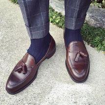 Men's Handmade burgundy tassel loafers,summer fringed casual men's leather shoes - $144.99+