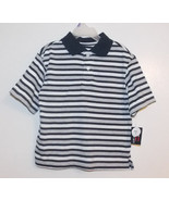 Bugle Boy Boys Polo Shirt Blue Gray White Strip... - $7.69