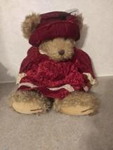 Russ Berrie Alexandra Teddy Bear Plush Velveteen Dress Hat Stuffed Anima... - $24.99