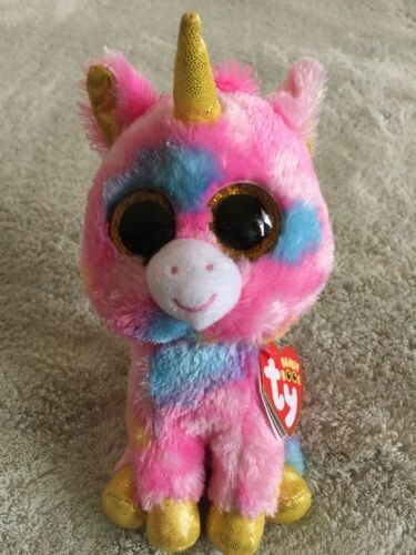 Primary image for NEW Ty Beanie Boo FANTASIA Pink Purple Blue Unicorn Stuffed Animal Toy