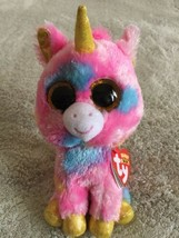 NEW Ty Beanie Boo FANTASIA Pink Purple Blue Unicorn Stuffed Animal Toy  - $7.38