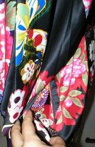 NWT New Designer Natori Wrap Robe Womens S Silky Satin Flowers Blue Red White image 8