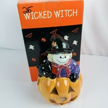 "Wicked Witch Tea Light Candle Holder Halloween Orange Pumpkin Black Cat 7"" - $17.82"