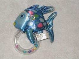 The Rainbow Fish Marcus Pfister Satin Stuffed Plush Cloth Baby Ring Ratt... - $24.74