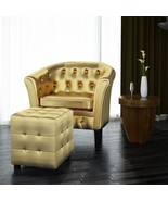 Modern Faux Leather Armchairs Footrest Stool Sets Lounge Chair Furniture... - $205.28