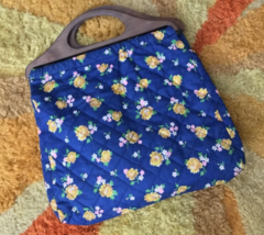 Vintage 1970s Floral Quilted Wooden Handle Purse Handbag - Great Condition! - $25.00