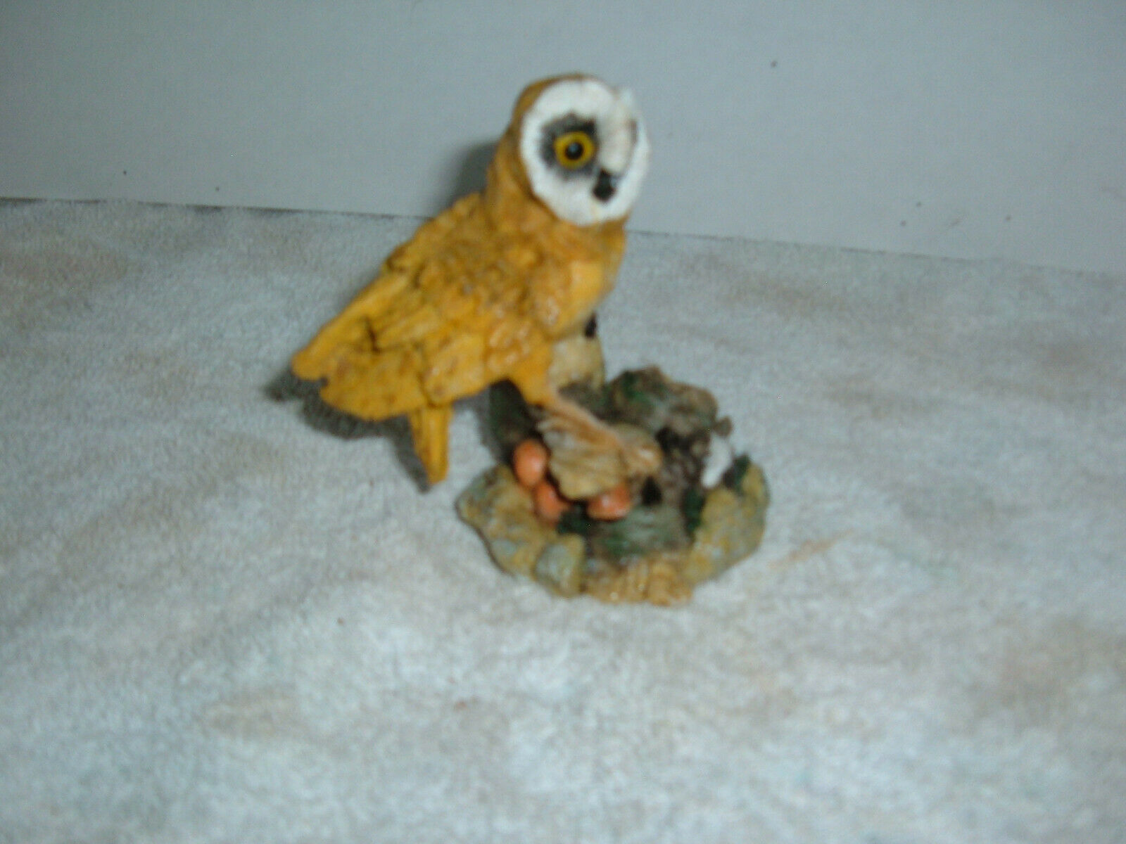 "Primary image for Owl  on Tree Stump figurine  Polyresin  4 1/2"" tall  Very intent looking"