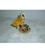 "Owl  on Tree Stump figurine  Polyresin  4 1/2"" tall  Very intent looking - $2.27"