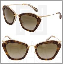 MIU MIU NOIR 10N Brown Havana Beige Gold Cat Eye Women Sunglasses HAH-1X... - $256.40