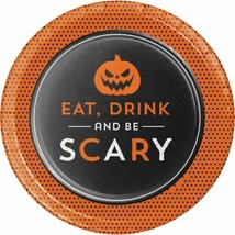 Eat Drink Be Scary 8 7 inch Dessert Cake Plates Halloween Party Pumpkin - $4.39