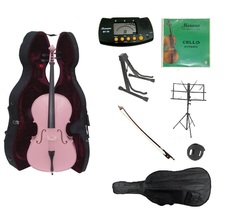 1/4 Size Pink Cello,Hard Case,Soft Bag,Bow,Strings,Metro Tuner,2 Stands,... - $489.99