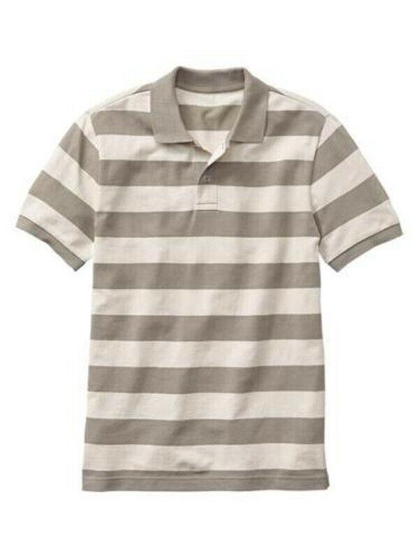 New Gap Men Stripe Short Sleeve Mesh Polo Shirt Size L
