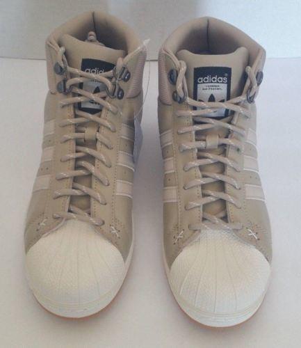 hot sale online d66c3 18547 adidas Mens Pro Model BT HI Top Leather Sneakers Shoes B39509 Beige Khaki  Size 8