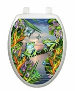 Toilet Tattoos Frogs in the Moonlight Seat Cover Vinyl  Tree Frogs LS01 - $16.95
