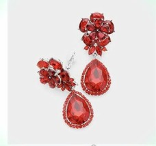 """2"""" Long Red Dangle Rhinestone Prom Long Crystal Pageant Earrings Clip On... - $32.28"""