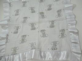 ADEN Aden + Anais Gray Elephant Muslin Baby Security Blanket Lovey Satin Trim - $19.79