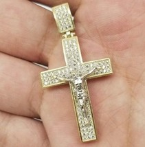 Real 10K Solid Yellow White Gold Jesus Crucifix Cross Two-Tone Pendant C... - $156.75