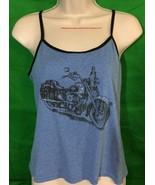 No Boundaries Blue Chopper Chick Spaghetti Strap Tank Top Size XL - $11.30