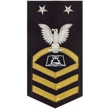 NAVY E9 MALE RATING BADGE: CULINARY SPECIALIST(CS) - VANCHIEF ON BLUE - $52.45