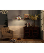 Tiffany Style Flower Dragonfly Floor Lamp Stained Glass Torchiere Home L... - $341.04