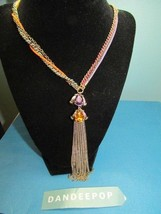 Betsey Johnson Jeweled tassel Necklace With Fuchsia Cord & gold Chains J... - $57.41