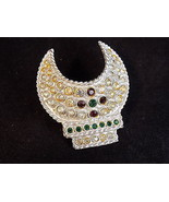 Vintage sequined Brooch Egyptian Cleopatra headdress jeweled decorative pin - $12.80