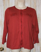 Womens Deep Orange CJ Banks 3/4 or Long Sleeve Zip Front Shirt Size 1X e... - $7.91