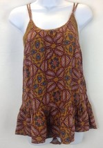 Nordstrom Rack Brown Siena Medallion Print Spaghetti Strap Criss Cross B... - $20.57